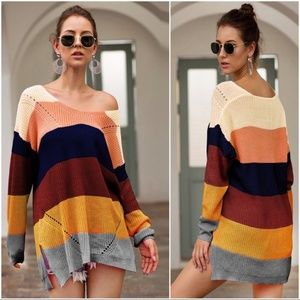 Color Block V Neck Sweater Tunic